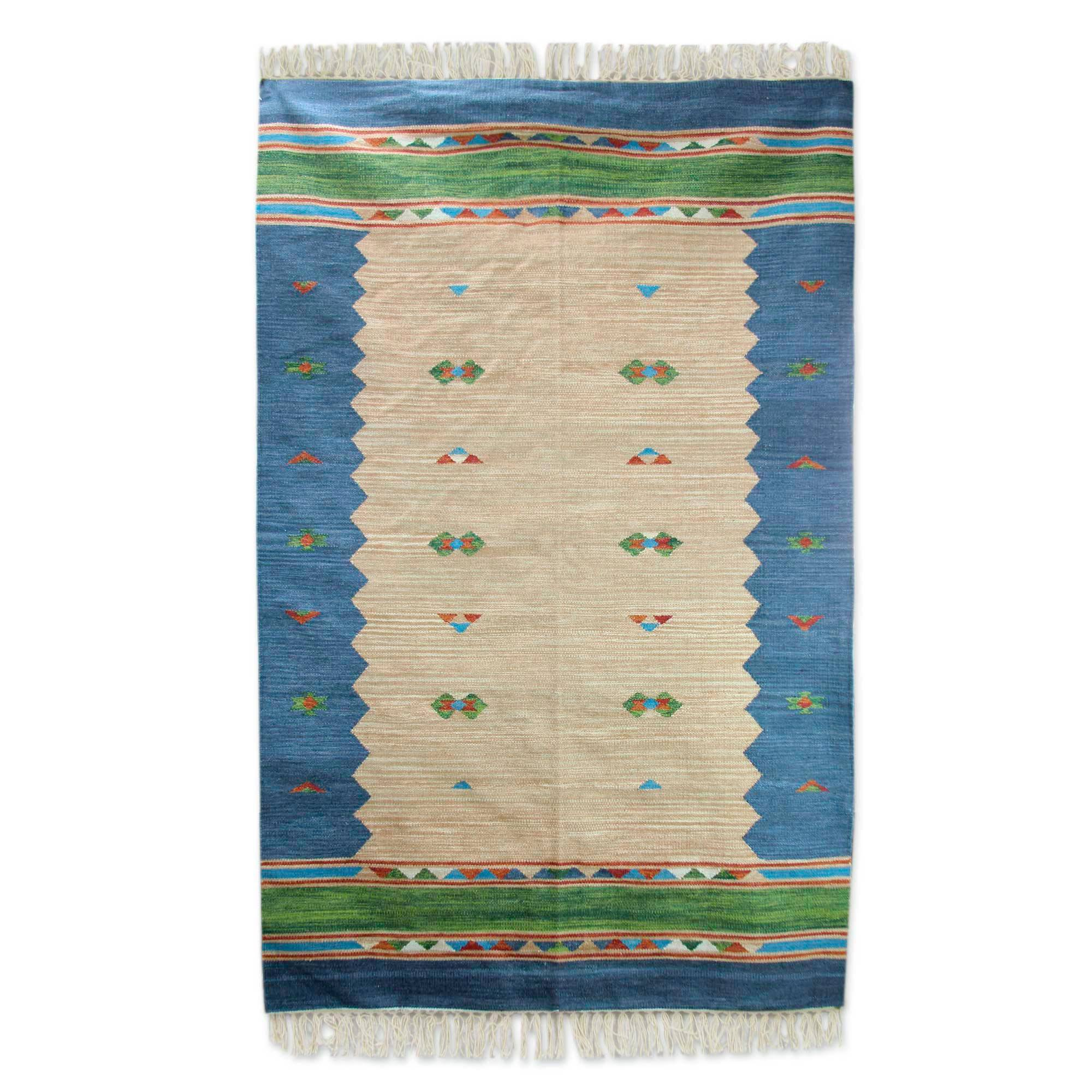 Blue Border Handwoven Wool Dhurrie Area