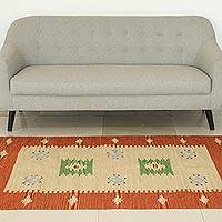 Wool area rug, 'India Sunset'