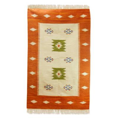 Wool area rug, 'India Sunset' - Colorful Indian Handwoven Wool Dhurrie Rug