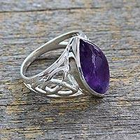 Men's amethyst ring, 'Modern Man' - Artisan Crafted Modern Silver and Amethyst Ring for Men