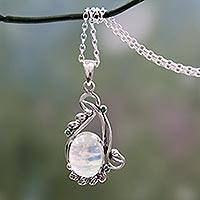 Rainbow moonstone and emerald pendant necklace, 'Glamour' - Handmade Rainbow Moonstone and Silver Necklace with Emeralds