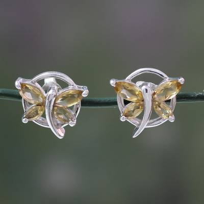 Citrine Birthstone Silver Butterfly Stud Earrings