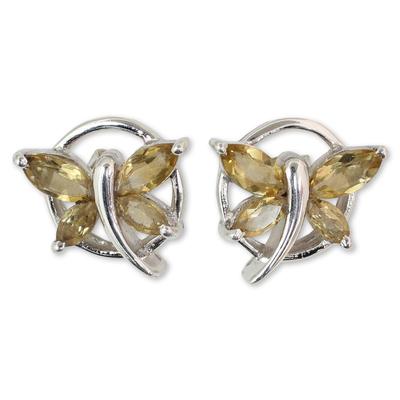 Citrine button earrings, 'Butterfly Gift' - Citrine Birthstone Sterling Silver Butterfly Earrings