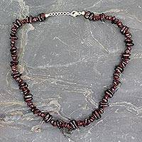 Garnet beaded necklace, 'Romance' - Hand Crafted Garnet Necklace from India with Silver Clasp