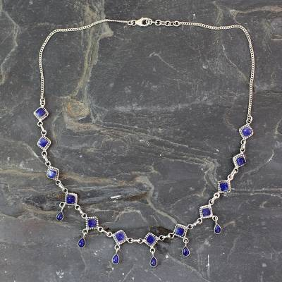 Lapis lazuli waterfall necklace, 'Queen of Diamonds' - Handmade Lapis Lazuli and Sterling Silver jewellery from Ind