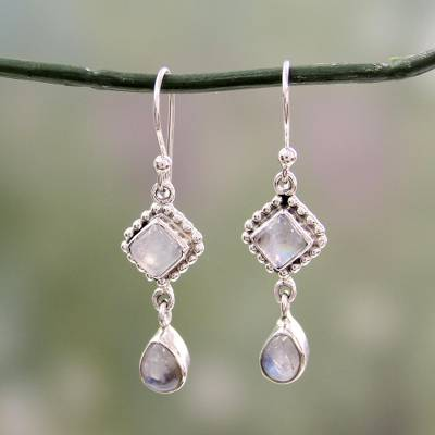 Rainbow moonstone dangle earrings, 'Queen of Diamonds' - Silver and Rainbow Moonstone Earrings Handmade in India