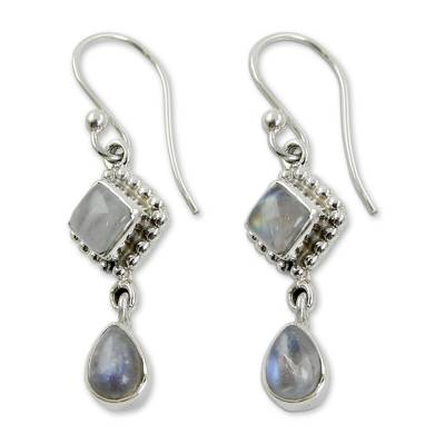 Silver and Rainbow Moonstone Earrings Handmade in India