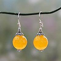 Chalcedony dangle earrings, 'Glorious Yellow'