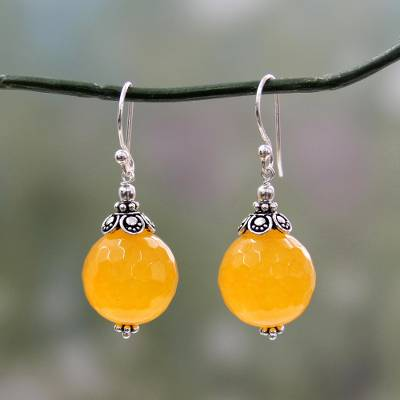 Chalcedony dangle earrings, 'Glorious Yellow' - Fair Trade Yellow Chalcedony and Sterling Silver Earrings