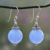 Chalcedony dangle earrings, 'Glorious Blue'