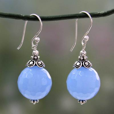 Chalcedony dangle earrings, 'Glorious Blue' - Artisan Crafted Blue Chalcedony and Sterling Silver Earrings