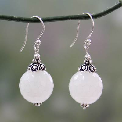 Chalcedony dangle earrings, 'Glorious White' - Handmade White Chalcedony and Silver Earrings from India