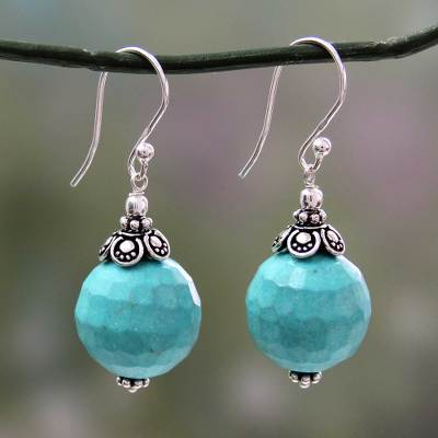 Calcite dangle earrings, 'Serene Blue' - Hand Crafted Blue-Green Calcite and Sterling Silver Earrings