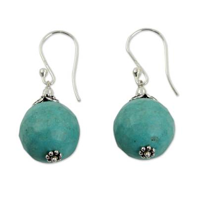 Hand Crafted Blue-Green Calcite and Sterling Silver Earrings