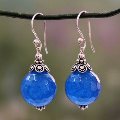 Chalcedony dangle earrings, 'Ocean Magic' - India Handmade Sterling Silver Dark Blue Chalcedony Earrings