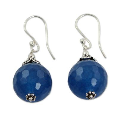 India Handmade Sterling Silver Dark Blue Chalcedony Earrings