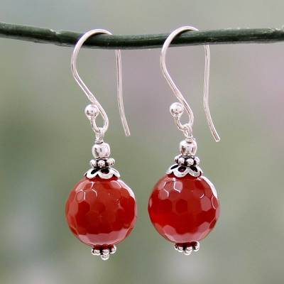 Agate dangle earrings, 'Glorious Crimson' - Artisan Crafted Red Agate and Sterling Silver Hook Earrings