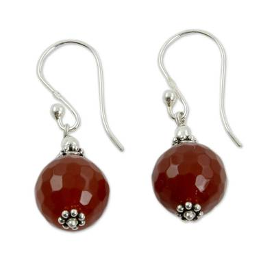Artisan Crafted Red Agate and Sterling Silver Hook Earrings