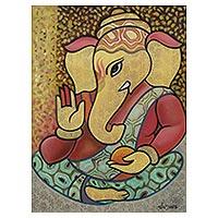 'Graceful Ganesha' - Expressionist Hindu Lord Ganesha Portrait in Oils