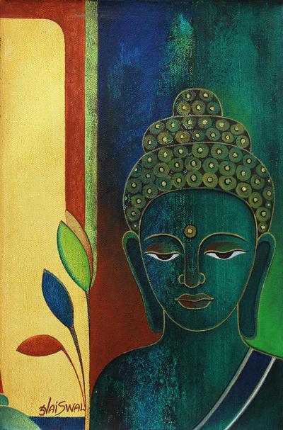 'Meditative Buddha' - Original Signed Buddha Portrait from India