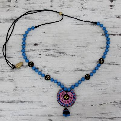 Terracotta beaded necklace, 'Morning Magic' - Hand Painted Terracotta Beaded Necklace Adjustable Length