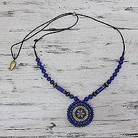 Terracotta beaded necklace, 'Peaceful Chakra' - Blue and Golden Hand Painted Terracotta Beaded Necklace