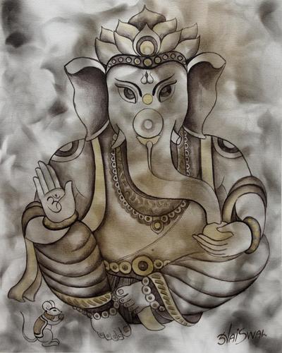 'Blissful Ganesha' - Hinduism Deity Signed Ganesha Painting from India