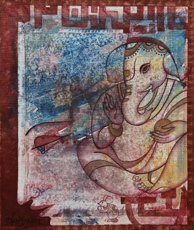'Devotion' - Lord Ganesha Hinduism Signed Painting Artwork from India
