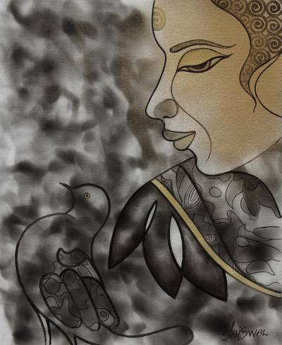 'Peaceful Buddha' - Golden Buddha Painting on Black and Grey