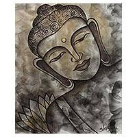 'Peaceful Buddha II' - Original India Signed Painting of Buddha