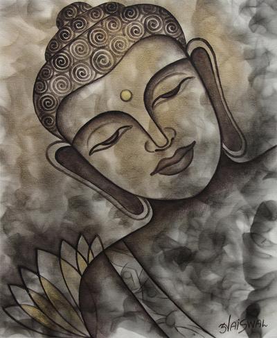'Peaceful Buddha II' - Original India Signed Painting of Buddha