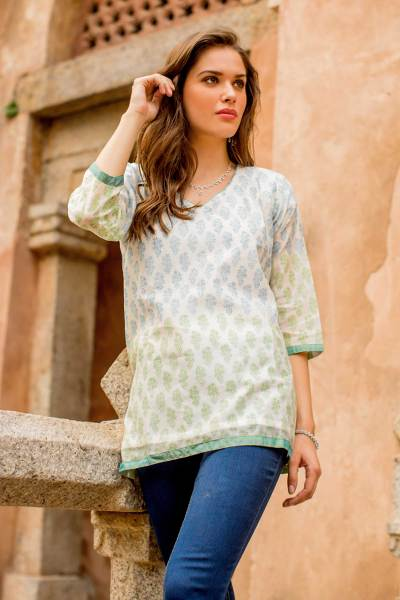 Cotton and silk blend tunic, 'Cool Bouquet' - Handmade Block Print Lined Cotton Blend Tunic from India