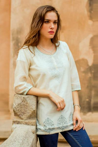 Cotton and silk blend tunic, 'Ivory Delight' - Indian Handmade Block Print Lined Cotton Blend Tunic
