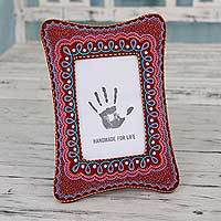 Embroidered photo frame, 'Festive Memories' (4x6) - Maroon Photo Frame with Colorful Indian Embroidery (4x6)
