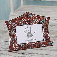 Embroidered photo frame, 'Festive Glam' (4x6) - Hand Crafted Embroidered Photo Frame from India (4x6)