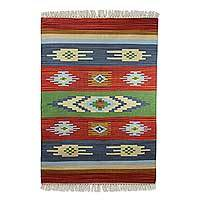Cotton rug, 'Tribal Colors' (2x3) - Indian Multicolor Geometric Handwoven Cotton Rug (2 x 3)