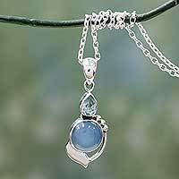 Blue topaz and chalcedony pendant necklace, 'Modern Romance'