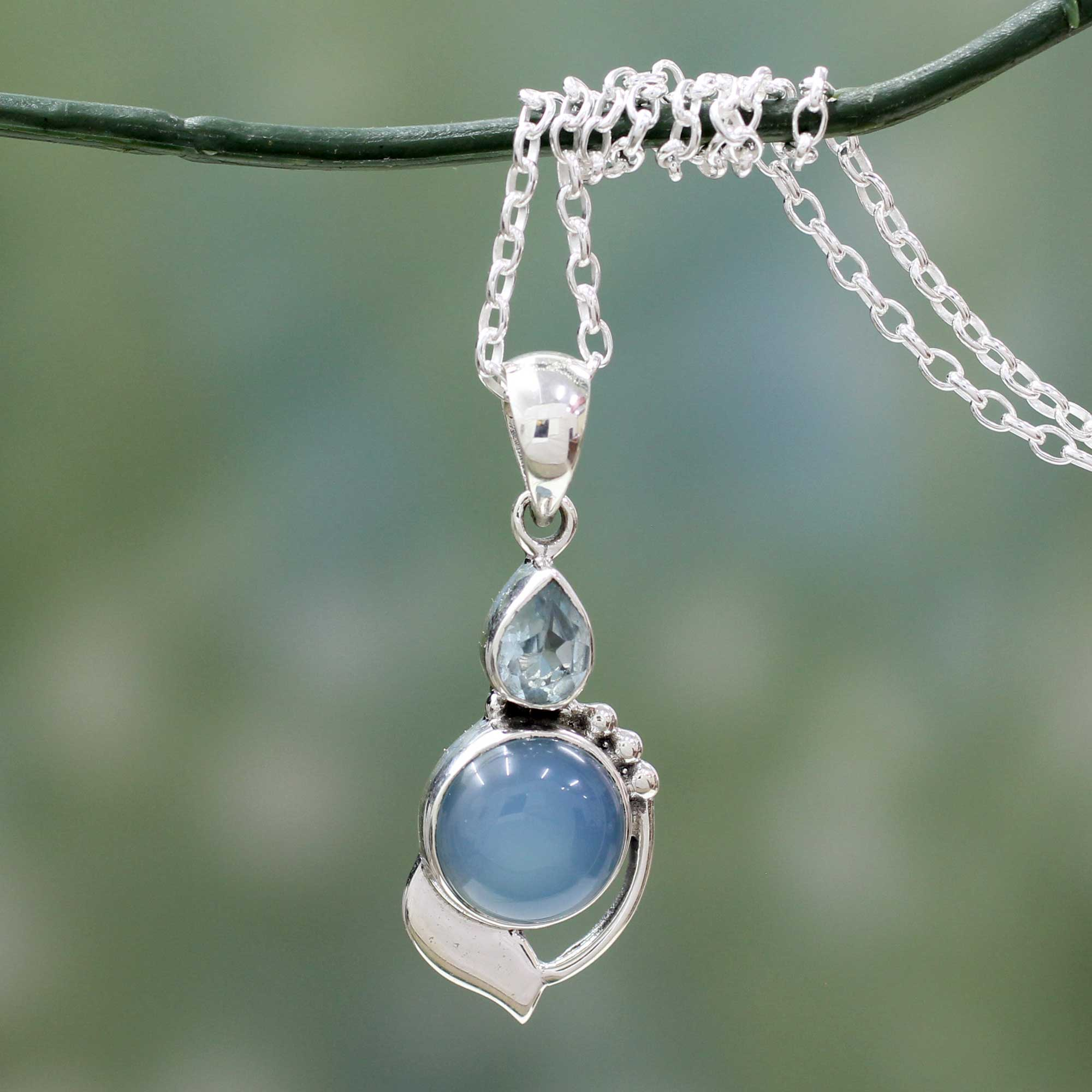 modern romance topaz p and novica chalcedony blue sterling with silver pendant necklace
