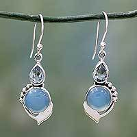 Blue topaz and chalcedony dangle earrings, 'Modern Romance' - Sterling Silver Hook Earrings with Blue Topaz and Chalcedony