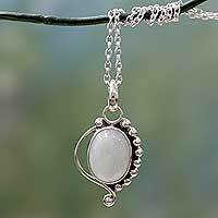 Rainbow moonstone pendant necklace, 'Indian Paisley' - Indian Sterling Silver and Moonstone Pendant Necklace