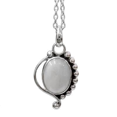 Indian Sterling Silver and Moonstone Pendant Necklace