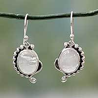 Rainbow moonstone dangle earrings, 'Indian Paisley' - Rainbow Moonstone jewellery Indian Sterling Silver Earrings
