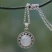 Rainbow moonstone pendant necklace, 'Lavish Moon' - Rainbow Moonstone jewellery Indian Sterling Silver Necklace