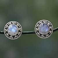 Rainbow moonstone button earrings, 'Lavish Moons'