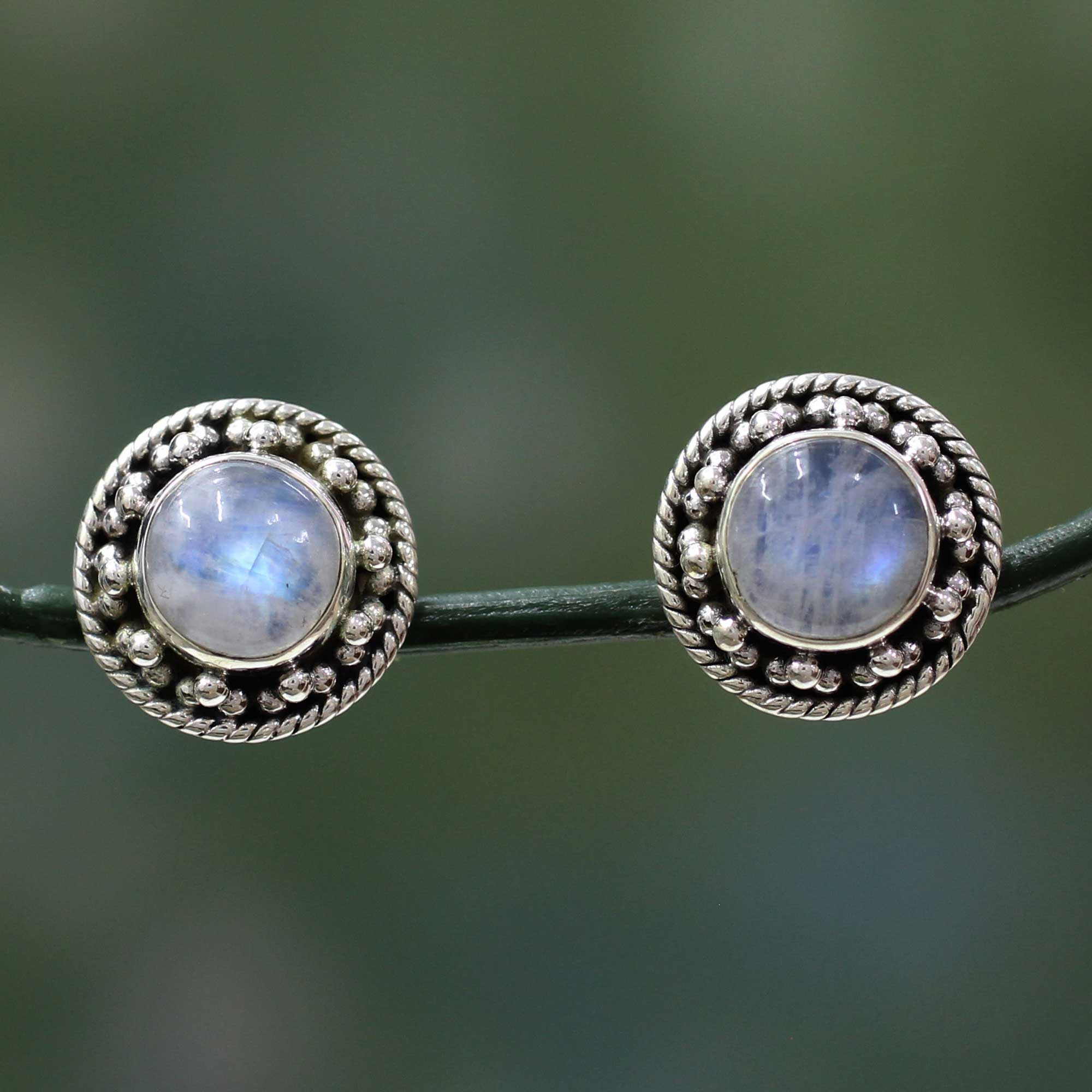 Crafted Sterling Silver Rainbow Moonstone Earrings Lavish Moons