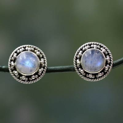 Rainbow moonstone button earrings, 'Lavish Moons' - Artisan Crafted Sterling Silver Rainbow Moonstone Earrings