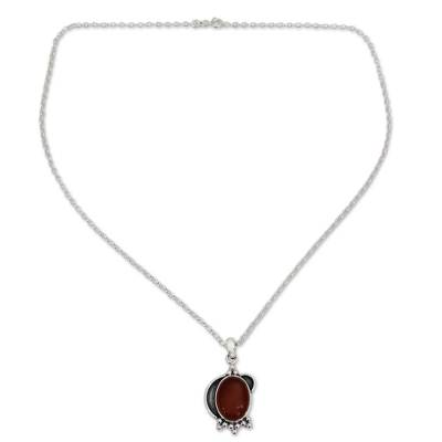 Sterling Silver and Carnelian Pendant Necklace from India