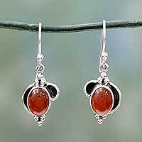 Carnelian dangle earrings, 'Solar Charm' - Sterling Silver and Carnelian Dangle Earrings from India