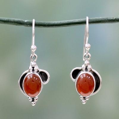 Carnelian dangle earrings, 'Solar Charm' - Sterling Silver and Carnelian Dangle Earrings from India