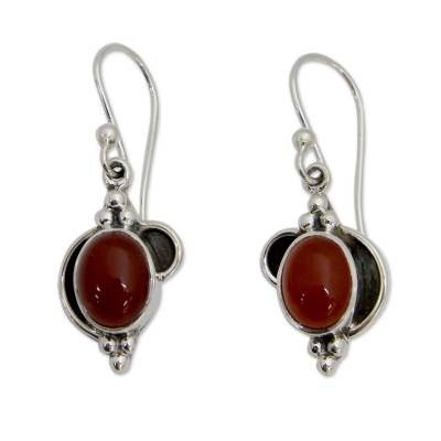 Sterling Silver and Carnelian Dangle Earrings from India